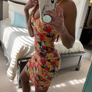 Dresses & Skirts - Multi-colored Floral Fitted Open Back Mini Dress